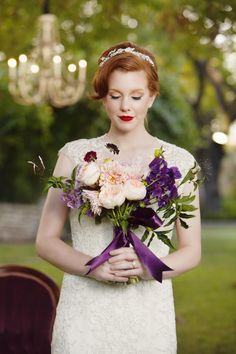 Lovely blush and plum bouquet by We + You. Styled shoot by Events by Hala. Hair & Makeup by Natalia Issa. Photo by John Christopher Photographs. #wedding #bouquet #blush #purple #beauty