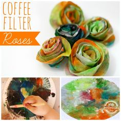 Make Coffee Filter Roses - cute Mothers Day craft