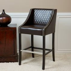 LEATHER QUILTED BARSTOOL IN BROWN