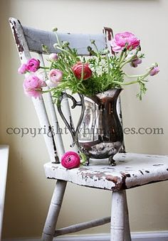 :) decor, vintage chairs, seat, vintag chair, silver, flowers, old chairs, quirki chair, old stuff