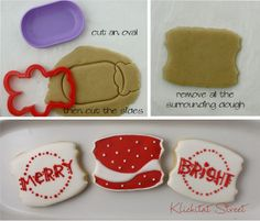 fancy plaque cookies cut with a bear cookie cutter