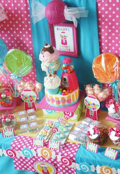 Candy Shoppe theme birthday party...lots of other cute themes also from And Everything Sweet