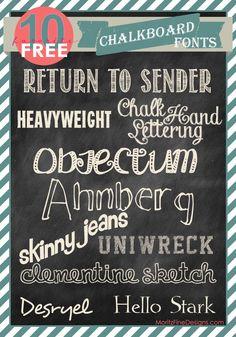 10 free chalkboard fonts from moritzfineblogdesigns.com