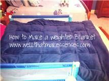 'Grow with me' weighted blanket that's washable. The weight of the blankets help the body to produce its own melatonin to help with sleeping issues. Be sure that the weight of the blanket is 10% of the persons body weight plus 1 pound.  Love also that it's diy