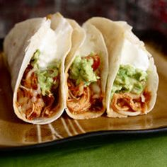 Prev. Pinner -- Crockpot Chicken Tacos.. This are delicious I add a can of rotel instead of salsa and eat them on crispy taco shells!! Kids love love