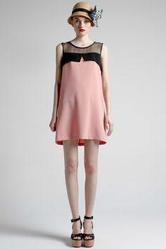 Vintage Contrast Panel Sleeveless Dress $103