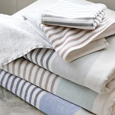 Fouta Bath Towels – Navy/Chambray//