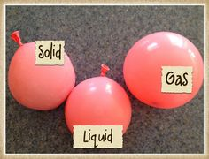 Solid/Liquid/Gas balloons: one with air, one with water, one with ice.