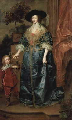 Queen Henrietta Maria of France, Wife of King Charles I of England, (Grandmother of Queen Mary II and Queen Anne) with the dwarf, Sir Jeffrey Hudson, 1633