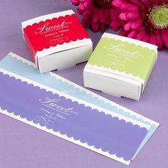 """Scalloped Border Wrap:   Add a personal touch to all of your favors! These 8"""" x 2 1/4"""" wraps are available in four border colors: Mist, Citron, Hydrangea, and Lipstick."""