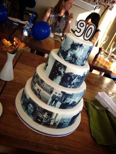 Cake Decorating Ideas For A 90 Year Old : My Grandads 90th photograph Birthday Cake xx