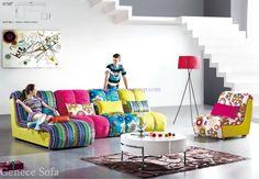 Sofá tapizado de la tela de Microfiber, asientos coloridos del salón