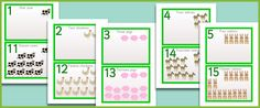 Here is a series of 20 animal number cards designed to be displayed as one long numberline. The 2 digit numbers are positioned beneath their corresponding 1 digit number so that the idea of 10 more is easier to understand.