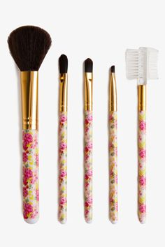 A cute set of makeup brushes for under $5?! Yes, please!  Forever 21 Rosebud Brush Set, $4.80, available at Forever 21.