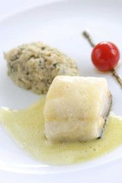 'Bacalhau 80.º de cura portuguesa com migas de poejo e hortelã da ribeira', a prodigious dish by portuguese chef Miguel Castro e Silva from LARGO restaurant, in Lisbon.