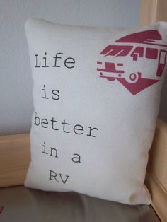 RV throw pillow handmade cotton motorhome camper decoration rustic fun retirement snowbird ornament unique home accent decor on Etsy, $18.00