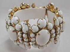 Hattie Carnegie Signed Gold Tone and Milk Glass Bracelet Vintage No Reserve | eBay