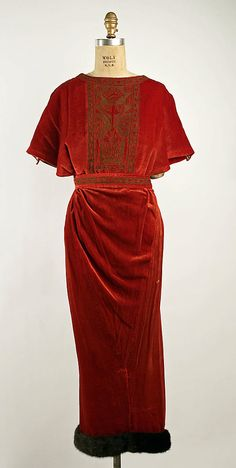 Dinner Dress 1919, French, Made of silk and fur