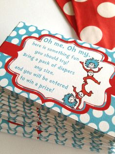 Instant Download Dr Seuss Cat in Hat Thing 1 and 2 Baby Shower Printable Diaper Raffle Tickets on Etsy, $3.00