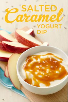 Salty and sweet – yes please! We luuurve this Salted Caramel Yogurt Dip made with Yoplait Greek Caramel and Cream Cheese topped with caramel topping and salt. We pair it with slices of fresh apple and bask in the fall goodness of it all. Perfect for a crowd too – just double or triple the recipe!