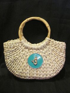 NEW Medallion Straw Purse with Bamboo Handles - Turquoise Medallion with any nautical embellishment