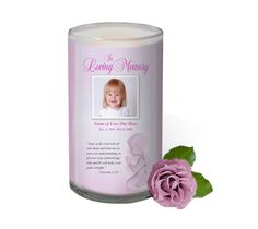 3x6 Glass Candles : Angela Custom Photo Memorial Glass Candle 3x6