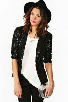 Night Fever Black Sequin Open Boyfriend Blazer