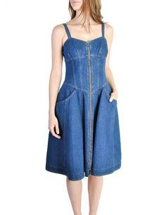 Vintage Blue Denim Jean Dress by Fendi
