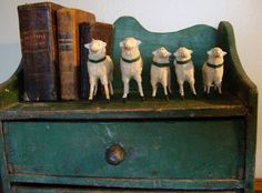 5 antique little putz German sheep
