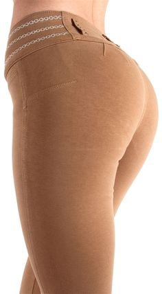 """Butt Lift Moleton Style 381KHA  80% COTTON 17% POLYESTER 3% SPANDEX, 3 CRYSTAL BUTTONS NO FRONT OR BACK POCKETS. WIDE WAISTBAND WITH A SILVER CHAIN EMBROIDERED DESIGN. A CURVE HUGGING FIT, WITH THE BUTT LIFTING DESIGN. RISE IS 8.5"""" INSEAM IS 32.5"""", A SKINNY 10"""" LEG OPENING (MEASURED FROM A SIZE MEDIUM) BRAZILIAN AND COLOMBIAN STYLE BUTT LIFTER (LEVANTA COLA) SKINNY LEG FASHION MOLETON $39"""