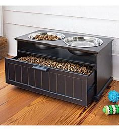 OMG!! This is awesome! Its raised, which is better for dogs, and its storage.