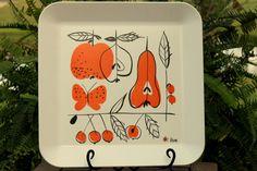 trays, vintag vera, pattern, neumann plastic, vera neumannfruit, vintage, ceram, plastic tray, illustr