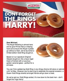 Krispy Kreme have their tongues firmly in cheek with this royal wedding themed email campaign!
