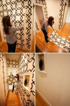 How did I not know this existed? Renter's Wallpaper! Temporary wallpaper you can easily remove when you move. or change a bedroom! Sherwin by jami