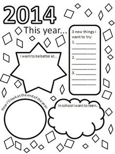 New Year pages to use in classroom-- free page in preview download