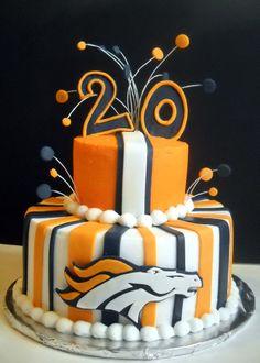 Denver Broncos Birthday - Vanilla cake with caramel filling.  Hand cut Broncos logo. TFL! bronco birthday, birthday parti, cake idea, denver bronco, bronco cake, groom cake, cake recipes, 30th birthday, birthday cakes