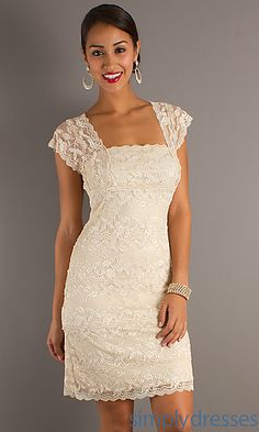 Short Cap Sleeve Lace Dress JU-ON-639637