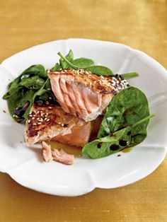 Recipes from The Nest - Miso-Glazed Salmon with Wilted Spinach