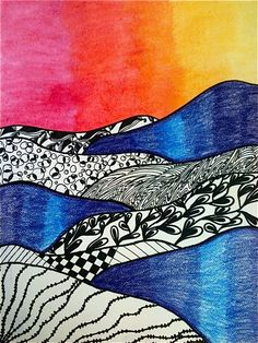 8th Grade: Zentangle Landscapes - ART at Mayfield Woods Middle School! like the gradation