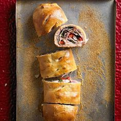 Yum! This Simple Stromboli is filled with ham, mozzarella, spinach, turkey, and red sweet pepper. More Thanksgiving appetizers: http://www.bhg.com/thanksgiving/sides-appetizers/make-ahead-thanksgiving-appetizers/?socsrc=bhgpin111013stromboli&page=22