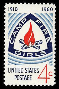 The Department issued this 4-cent stamp on November 1, 1960, through the New York, New York, post office in honor of the Camp Fire Girls. This stamp was issued to commemorate the 50th anniversary of the Camp Fire Girls' movement, in connection with the Golden Jubilee Convention celebration of the organization.