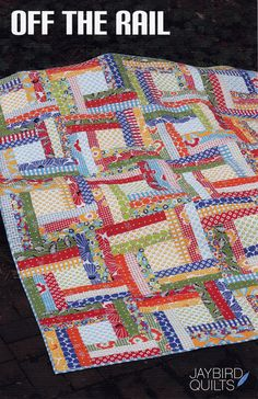 Jaybird Quilts Off The Rail rail fenc, pattern, quilt rail, quilt idea, jaybird quilt, bright colors