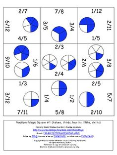 FREE Magic Square Puzzle - students match the correct fraction with its corresponding number (2/3, 1/2, etc)
