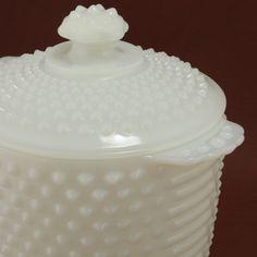 Cookie Jar Ice Bucket Hobnail Milk Glass Anchor Hocking Vtg.