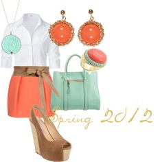 coral & turquoise, created by blairmoore on Polyvore