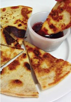 Peanut Butter Quesadillas with Grape Jelly Dipping Sauce