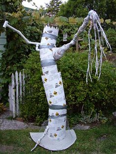 how to make a haunted tree- cardboard tubes, newspaper, duct tape