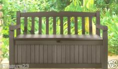 Keter 70 Gallon Garden Bench Box Decorative Deck Storage Bench for Outdoor Patio | eBay