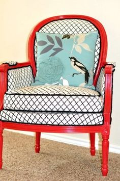 Vintage chairs modern makeover - Top 60 Furniture Makeover DIY Projects and Negotiation Secrets bird, vintage chairs, pillow, furniture makeover, color combos, chair redo, paint, chair makeover, old chairs