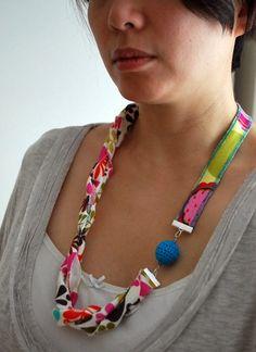 tutorial fabric necklace